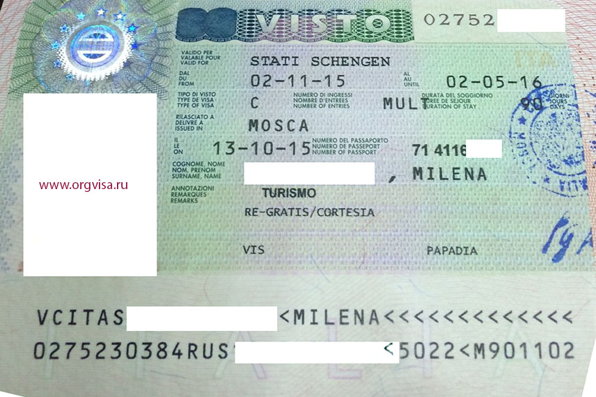 Какая виза в италию